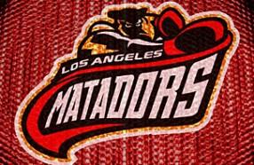 Los Angeles Matadors logo on red